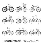 set of retro bicycles... | Shutterstock .eps vector #422643874