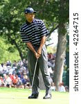 BLOOMFIELD HILLS, MICHIGAN - SEPTEMBER 9: Professional golfer Tiger Woods competes in the 2004 Ryder Cup on September 9, 2004 in Bloomfield Hills, Michigan. - stock photo