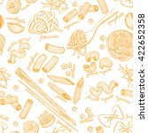 vector hand drawn pasta pattern.... | Shutterstock .eps vector #422652358