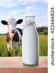 cow and milk. bottle fresh of... | Shutterstock . vector #422666824