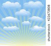 Vector Set Of Clouds  Blue Sky...