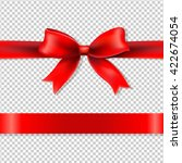 red bow and ribbon  isolated on ... | Shutterstock .eps vector #422674054