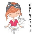 cute girl vector t shirt print... | Shutterstock .eps vector #422674870