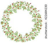 green and red christmas wreath... | Shutterstock . vector #422684230