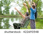 grandfather and grandsons ... | Shutterstock . vector #422693548
