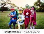 Superheroes Kids Friends Playing Togetherness - Fine Art prints