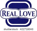 real love badge with denim... | Shutterstock .eps vector #422718343