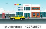 yellow taxi passenger in front... | Shutterstock .eps vector #422718574