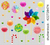 lollypop set with pinwheel ... | Shutterstock .eps vector #422728474