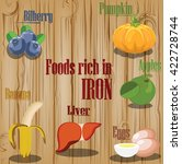 foods rich in iron  nutrition ... | Shutterstock .eps vector #422728744