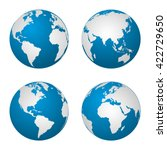 earth  globe revolved in four... | Shutterstock .eps vector #422729650