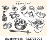 hand drawn set of asian food.... | Shutterstock .eps vector #422735008