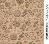 seamless pattern with seeds and ... | Shutterstock .eps vector #422738770