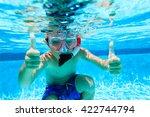Happy Little Boy Swimming...