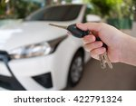 women hand presses on the... | Shutterstock . vector #422791324