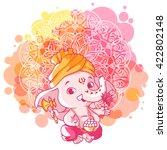 little cartoon ganesha. sunny... | Shutterstock .eps vector #422802148