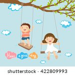 boy and girl playing on swing... | Shutterstock .eps vector #422809993