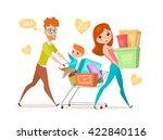 family shopping   Shutterstock .eps vector #422840116