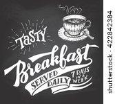 tasty breakfast served daily ... | Shutterstock .eps vector #422842384