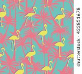 flamingos and palm trees  ... | Shutterstock .eps vector #422851678
