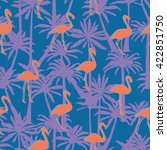 flamingos and palm trees  ... | Shutterstock .eps vector #422851750