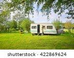 caravan trailer camping on a... | Shutterstock . vector #422869624