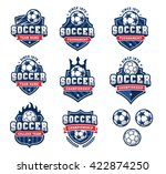 Collection of eight Red and Blue Vector football or soccer logo and insignias
