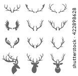 hand drawn deer antlers vectors.... | Shutterstock .eps vector #422898628