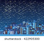 night city with cartoon houses  ... | Shutterstock .eps vector #422905300