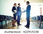 congratualting speaker after... | Shutterstock . vector #422915158