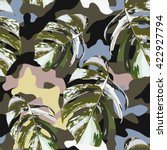 camo and tropical marble leaves ... | Shutterstock .eps vector #422927794