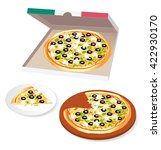 whole pizza in cardboard and... | Shutterstock .eps vector #422930170