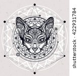 vintage ornate cat head with... | Shutterstock .eps vector #422931784