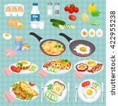set of pictures cooked eggs.... | Shutterstock .eps vector #422955238