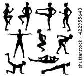 black silhouette of girls doing ... | Shutterstock .eps vector #422955643