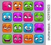 funny cartoon colorful square...