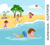 children summertime vacation... | Shutterstock .eps vector #422970958