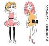 fashion girls. summer. sketch.... | Shutterstock .eps vector #422984200