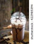 iced coffee mocha on wooden... | Shutterstock . vector #422985394
