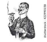 elegant gentleman holding glass ... | Shutterstock . vector #422990158