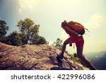 young asian woman hiker... | Shutterstock . vector #422996086