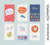 set of decorative autumn cards | Shutterstock .eps vector #422998903