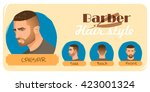 men's haircut and hairstyle.... | Shutterstock .eps vector #423001324