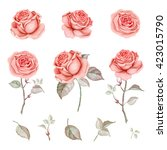 Stock photo watercolor set of red roses 423015790