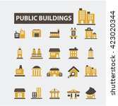 buildings icons  | Shutterstock .eps vector #423020344