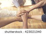 people putting their hands... | Shutterstock . vector #423021340