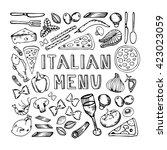 restaurant cafe italian menu.... | Shutterstock . vector #423023059