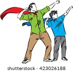 father and son illustration... | Shutterstock .eps vector #423026188