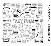 fast food doodle set. elements... | Shutterstock . vector #423027340