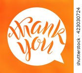thank you. lettering on blurred ... | Shutterstock .eps vector #423030724